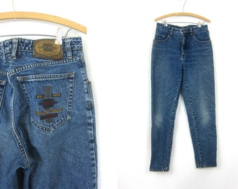 80s High Waist Blue Jeans Worn In Denim Tapered Leg Retro Mom Betty Jeans Vintage 1980s Hipster high Rise Pepe London Women's size 31 x 32