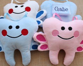 Tooth Fairy Pillow Boy Personalized, Blue, Pink, White,Plush Tooth,birthday gift for Boys, Girls, Lost Tooth Pocket, Christmas gift for Kids