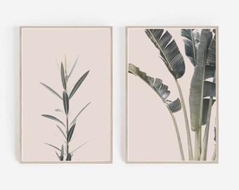 Set of 2 Prints,Tropical Prints,Pink Wall Art,Wall Prints Art,Large Wall Art,Wall Art Prints,Wall Decor,Digital Download,Printable Wall Art