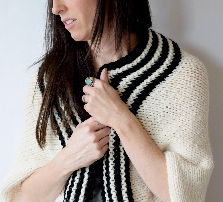 Easy Sweater Pattern, Beginner Knit Shrug Pattern, Black & White ...