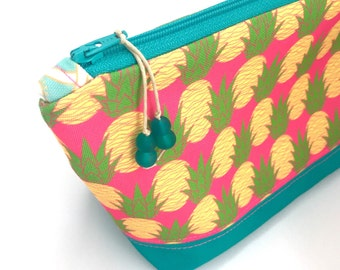 Aloha Pineapples Large Make up Bag, Pink Recycled Zipper Pouch, Diaper Bag Organizer, Eco Cosmetics Bag, Glass Beads,Starfish Gift For Mom