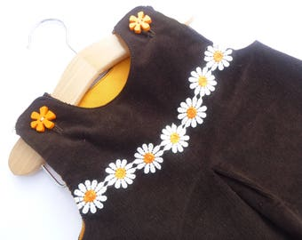 Baby pinafore dress, brown needlecord, sleeveless, 6-9 months, fully lined,
