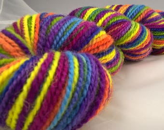 Rainbow Handspun - BFL - pink orange yellow green blue purple variegated hand dyed yarn