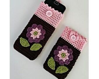 """PDF: Smartphone Cozy """"Flower"""" Crochet Pattern"""