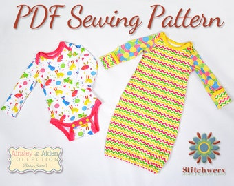 ONESIE SEWING PATTERN, Baby Bodysuit Pattern, Baby T Sewing Pattern, Baby Gown Sewing Pattern, Digital Sewing Pattern, Preemie-12M pattern