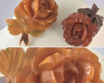 A Pair of Sweet Vintage 1940's Carved Bone Floral Brooches ... Original Vintage Forties 40's