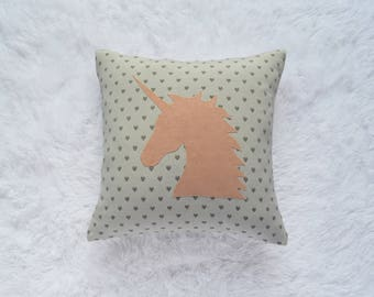 Personalized Unicorn Pillow Applique Girls Nursery Pink