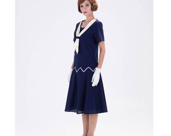 1920s zig zag dress in navy blue and white, Great Gatsby dress, 1920s flapper dress, 20s sailor dress, Downton Abbey dress, 1920s tea dress