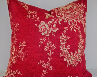 French Country Toile Pillow, Waverly Floral Red Waverly Country House Toile Red BOTH SIDES