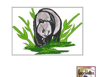 Embroidery file format: Panda and bamboo