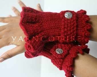 Retro - Victorian Ruffled Knit Cuffs / You Choose The COLOR & BUTTONS - Fall / Winter Fashion