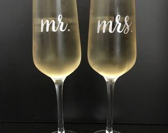 Custom Wedding Champagne Flutes - set of 2