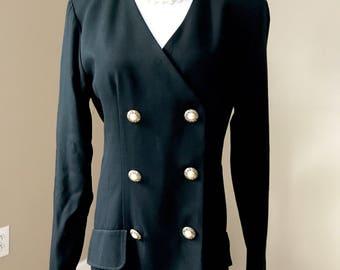 Vintage 80's K Studio Button Down Black Dress