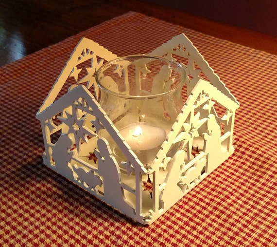 Nativity Scene Votive Candle Holder