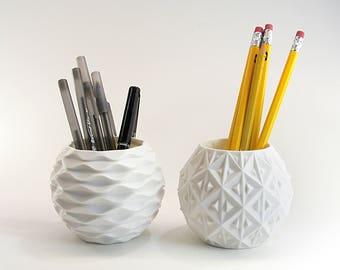 Pen Pot Set of 2 Cute Geometric Pots White Desk Organizer Set White Pencil Holders Geometric Desk Decor Geometric Pencil Holder