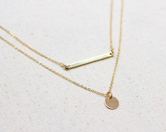 Dainty Necklace Set / Thin Gold Bar Necklace / Silver Coin Necklace / Gold Coin Necklace / Minimalist Necklace / Bridesmaid Necklace Set