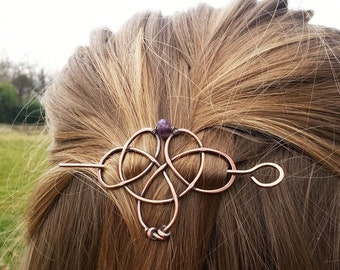 Pinces à cheveux cuivre celtique ou barrettes - châle pins - cadeau pour les femmes son noeud celtique - bijoux de cheveux rustique-