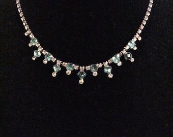 Stunning Blue Rhinestone Necklace