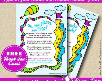 """Inspired Dr Seuss Baby Shower Invitation 5x7"""" 