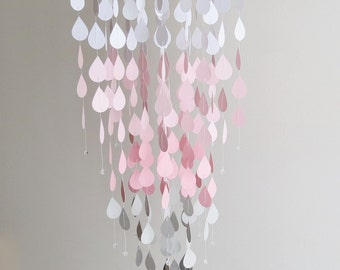 Raindrop Mobile - Pink Mobile, Nursery Mobile, Baby Mobile, Home Decor, Pink and Gray Mobile, Hanging Mobile, Gifts For Her, Handmade Mobile