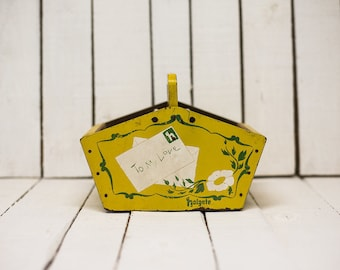Letter Post Box {Vintage} Yellow Wood