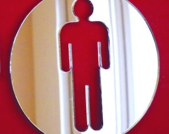 Round Male Toilet Sign Mirror  - 5 Sizes Available