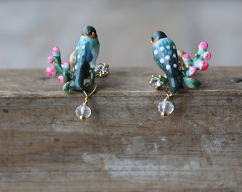 Birds enamel earrings