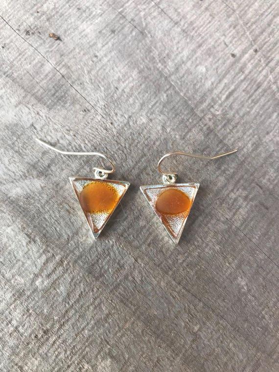Orange sea glass-genuine sea glass-triangle earrings