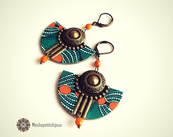 Colorful earrings, inspired orange and blue green African fabric