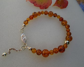 Gold Bracelet with amber, 585 gold filled