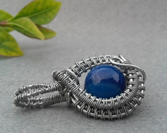 Agate Pendant - Blue - Wire wrapped - Handmade jewellery - Lovely gift!