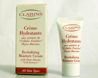Vintage 1990s Clarins Creme Hydratante Revitalizing Moisture Cream Cosmetic Skin Care Sample Tube in Box