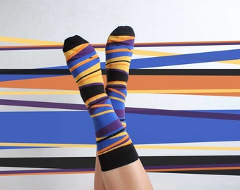Brad - yellow blue casual stripe socks | colorful socks | funky socks | gift socks | cool socks | casual socks | dress socks | gift socks