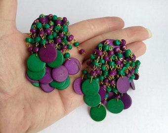 Chunky Cha Cha Earrings - Tassel Wood Bead Earrings - Purple Green Disk Beads -  Retro Runway Statement Earrings 1980s Earrings