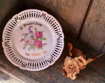"""Fort William, Ontario Souvenir Plate ~  """"A Present from"""" ~ Porcelain with Gold Highlights ~ Reticulated Rim ~ Schwarzenhammer ~ Germany"""