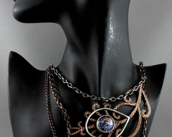 Bohemian jewelry. Peacock feather costume jewelry. Statement fashion jnecklace in handmade