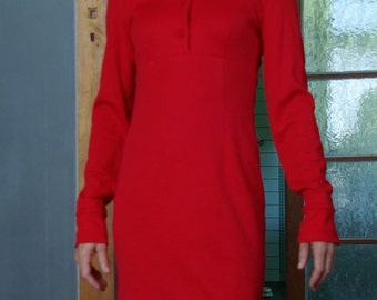 Vintage Events fire engine red polyester viscose dress size 8 Made in Australia