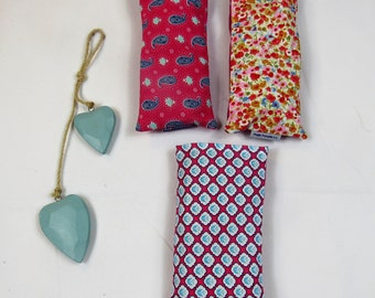 Lavender eye pillow, removable, washable cover - pinks, ideal for yoga and meditation, great gift, made in the UK - free UK postage