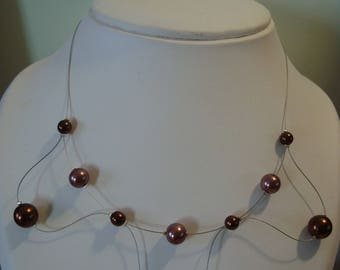 Brown wave necklace