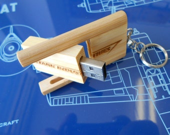8 GB Personalized Bamboo USB Flash Drive, Custom Engraved Usb Jump Drive