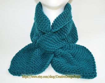 Knit Real Teal Popular Ascot Scarf - Pull Through Keyhole, Top Trend, Stay Put, Ascot Short Scarf, Christmas Gift, Winter wear, Men, Women,