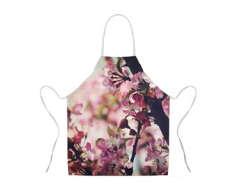 Pink Flower Apron, Floral Apron, Nature Photo Apron, Gift for Chef, Apron for Women, Hostess Gift, Adult Kitchen Apron, Floral Adult Apron