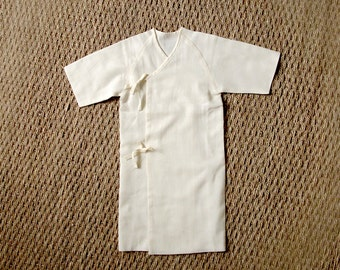 baby 100% organic unbleached cotton MUSLIN GOTS certified / baby LONG Kimono