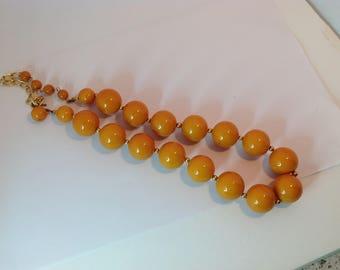 Bakelite Necklace 1930-1940 Apricot colour