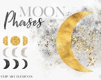 Moon Clip Art - Moon Phases Clip Art - Moon Cycle Clipart - Lunar Moon - Astrology Astrological Moon - Tarot Clip Art - Bohemian Boho Art