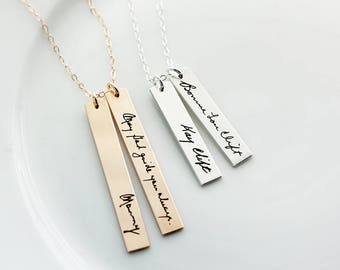 Double Handwriting Bar Necklace - Vertical Handwriting Necklace, Custom Engraved Signature Handwriting Gift for Mom Signature Handwritten