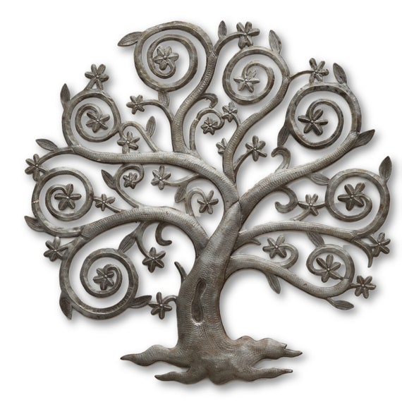 Curly Flower Tree, Quality Handcrafted Haitian Metal, One-of-a-Kind 22.5x23