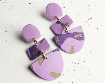 Purple gold statement earrings, oval rectangle dangle, lavender gold dangle earrings, boho chic party dangles, polymer clay jewelry