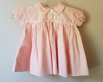 Vintage 50s Girls Pink Cotton Dress Peter Pan Collar with Hand Embroidery and Lace by C.I. Castro - Size 12 months- New, never worn