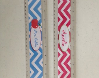 "Personalized rulers personalized 12"" teacher ruler personalized chevron ruler personalized for teachers"